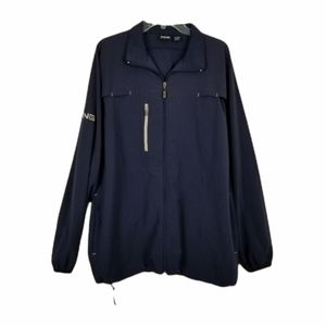 Ping Golf Vented Windbreaker Full Zip Jacket Navy Blue Embroidered Logo Sz Large